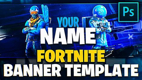 blue fortnite youtube banner template