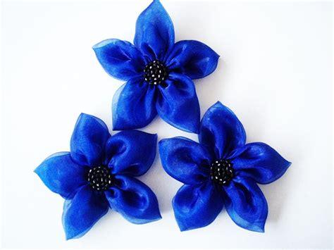 cobalt blue flowers handmade appliques embellishments