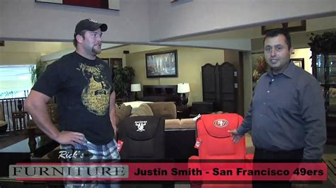 ricks furniture san jose raiders and 49ers recliners with justin smith rick s