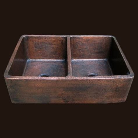 radiance farmhouse copper sink double bowl sink with