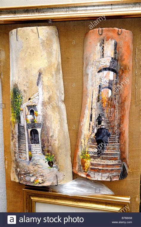 hand painted roof tiles  display  taormina sicily
