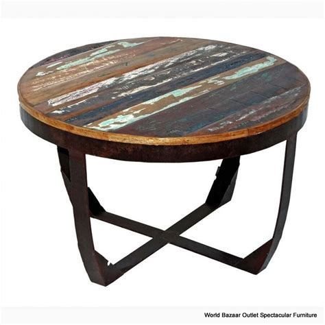 """Learn how to build a round epoxy table in this comprehensive video!i outline every step of my process used to create this round walnut wood and white epoxy. 30"""" Round Coffee Table Solid Multicolor Reclaimed Wood Slats on Black Iron Base   eBay"""