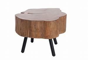 table basse forme tronc d'arbre en bois massif et pied métal noir 6