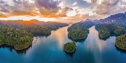 Tropical Landscape Forest Mountain Island Thailand Sunset