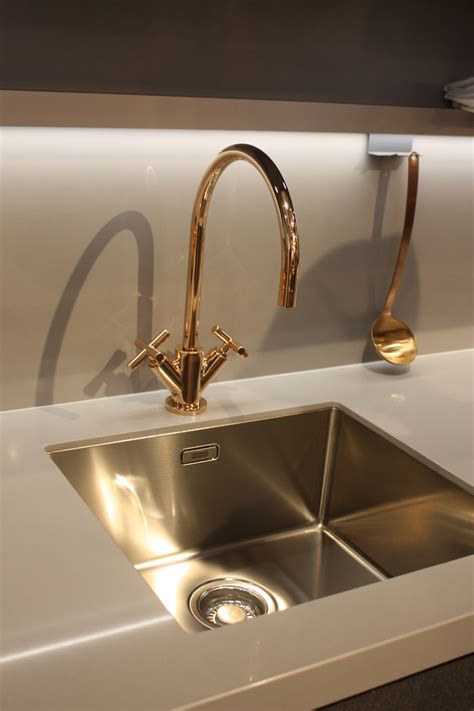 gold kitchen faucet new kitchen sink styles showcased at eurocucina