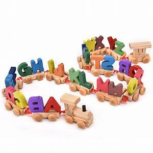 1 set multicolored wooden letters train toys alphabetical With wooden letters toys