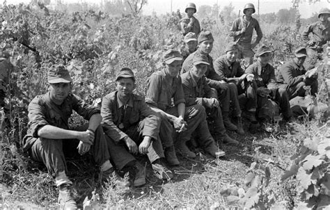 Ww2 Photo Wwii German Pows Under Guard By Us Soldiers