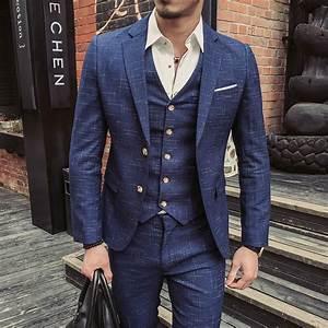 Costume Homme 2017 : buy smoking jackets mens suits blue tailcoat man suits slim fit 2017 costume ~ Preciouscoupons.com Idées de Décoration