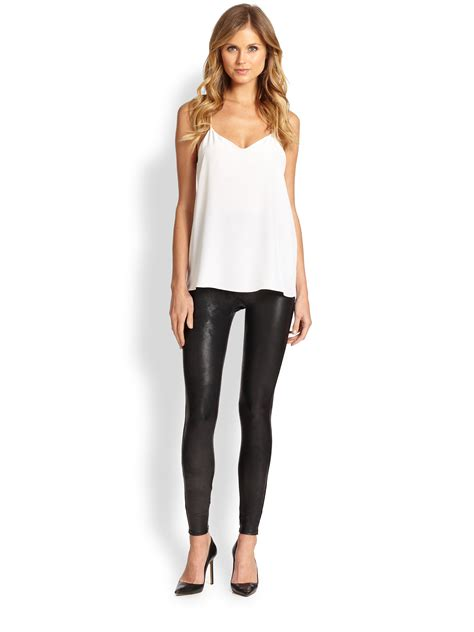 Lyst - Spanx Faux Leather Shaping Leggings in Black