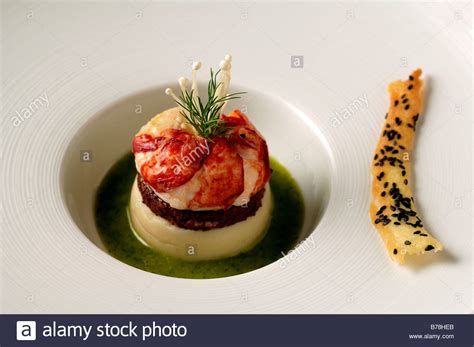 haute cuisine quot apéro quot breton lobster blackpudding and potato puree haute cuisine stock photo royalty free