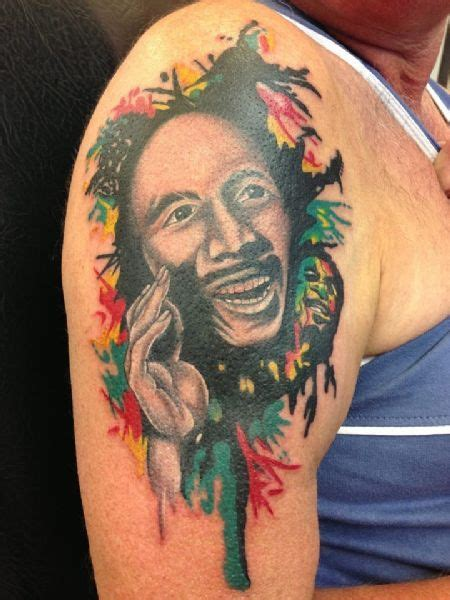 bob marley portrait tattoos