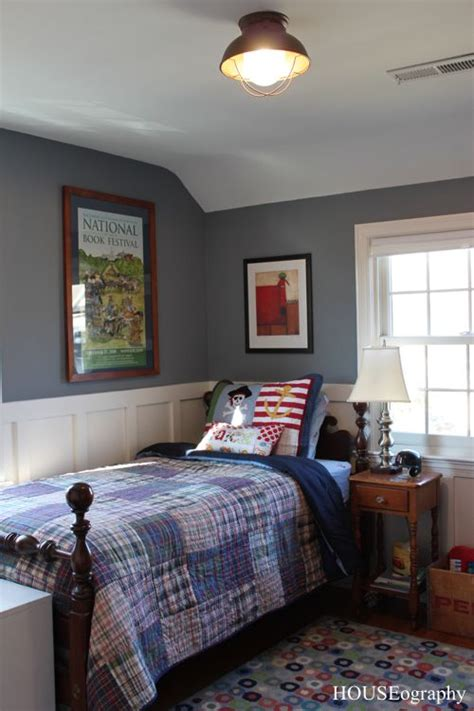 Bedroom Walls Painted Blue by Nautical Vintage Boys Bedroom Blue Gray Walls Plaid