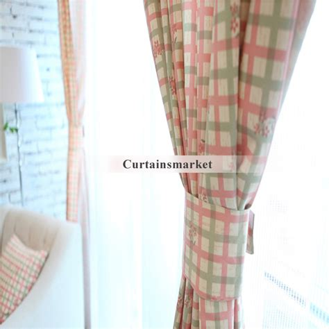 country curtains drop of plaid checks in green and pink