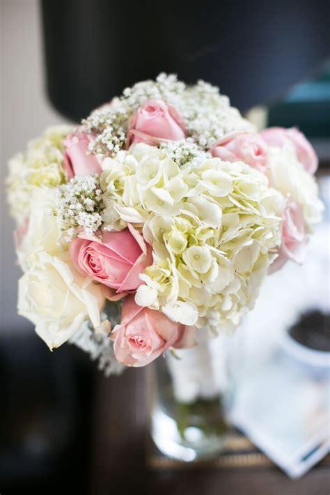 bouquet  hydrangeas roses  babys breath