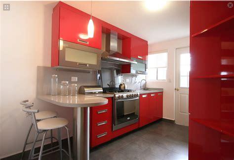 decoracion minimalista  contemporanea cocina roja