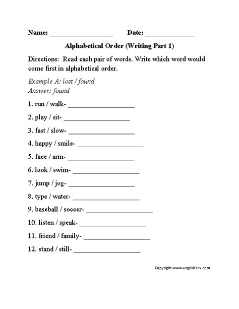 alphabetical order worksheet writing part  beginner