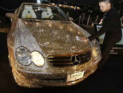 gold glitter car dimond car amazing world first cars