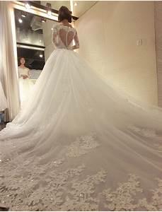 Off The Shoulder Back Heart Elegant Long Train Wedding