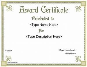 award templates free printable certificate templates With prize certificates templates free