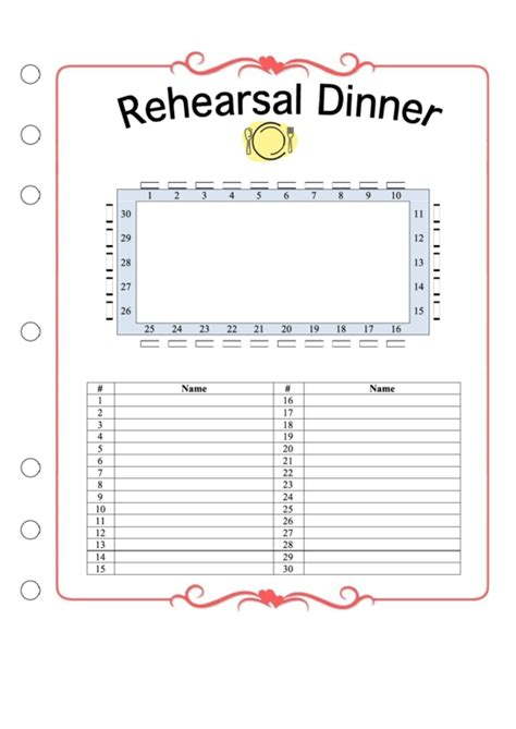 wedding ceremony rehearsal dinner seating chart printable