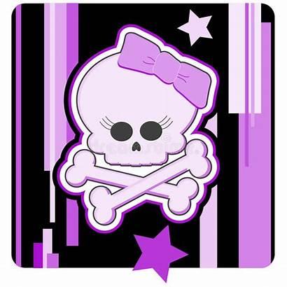 Girly Skull Crossbones Cartoon Vector Emo Halloween