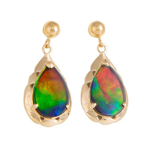 ammolite earrings  gold