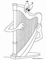 Harp Coloring Pages Harmonica Music Ireland Printable Sheets Template Symbol Bestcoloringpages Instruments Drawing Templates Omalovanky Hudebni Pinu Zdroj Houslový Harfa sketch template