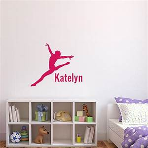 Gymnast with name wall decal wall decal world for Gymnastics wall decals