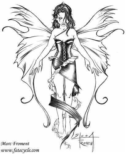 Fairy Tattoo Coloring Fairies Evil Drawings Pages