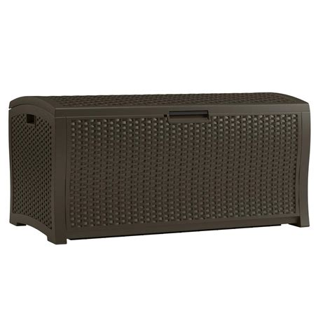 suncast wicker deck box 122 gallon suncast 122 gal resin wicker deck box dbw9935 the home