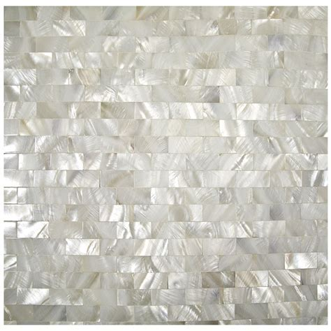 White Mother of Pearl Seamless Backsplash Subway Natural
