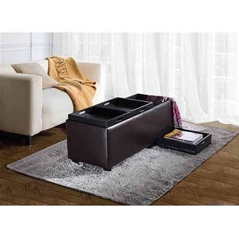 Large Serving Tray For Ottoman by Avalon Large Storage Ottoman With 3 Serving Trays Ebay