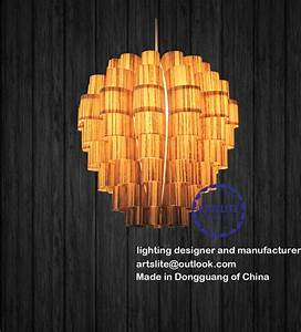 Wood veneer ceiling lights : New wood veneer lamp modern pendant lighting other