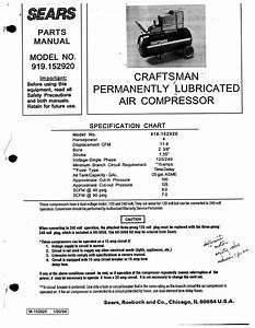 Sears Air Compressor 919152920 User Guide