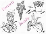 Coloring French Fries Ice Snacks Desserts Shake Milk Inspirational Cream Awesome Isolated Vector Popular Most sketch template