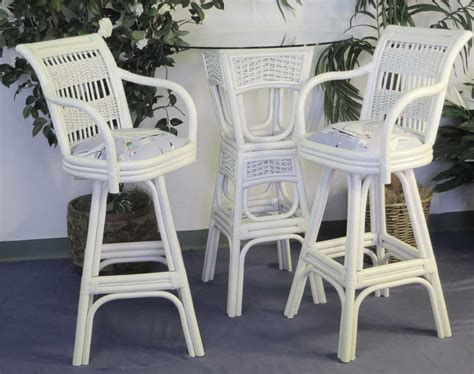 bar height wicker dining set figi  pc natural white