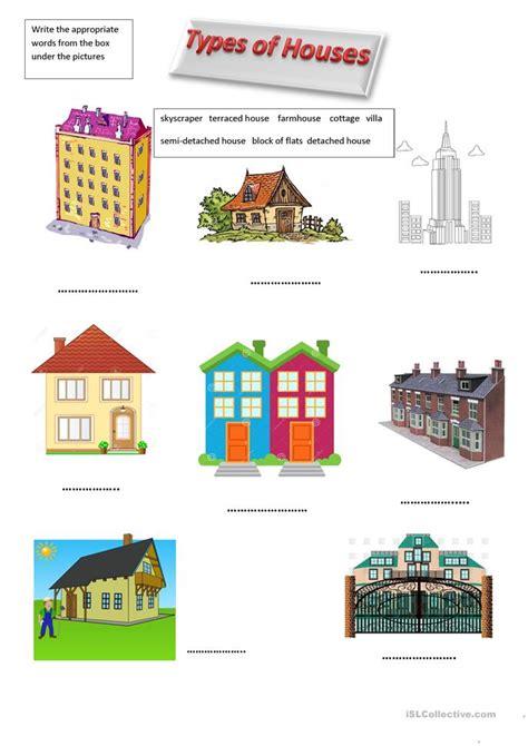 esl types  houses worksheets