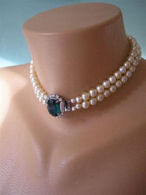 emerald necklace pearl choker emerald  pearl great