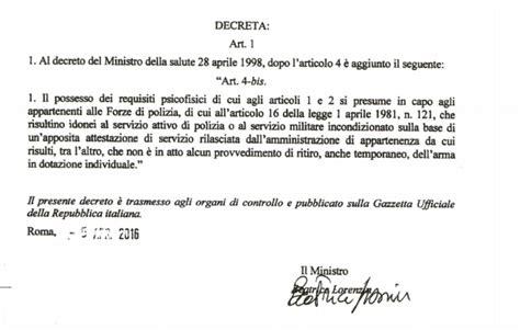Porto D Armi Requisiti by Polizia Sufficiente Attestazione Di Servizio Per Avere Il