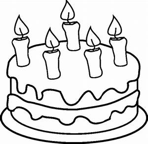 Birthday Cake With Candles Coloring Book Page Printout