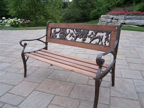 oakland living animals cast iron garden decorative bench