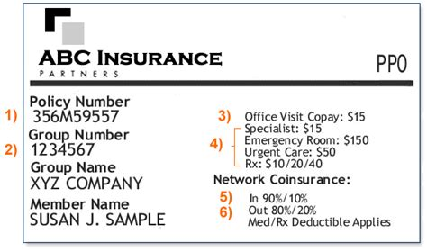 Sample Insurance Card
