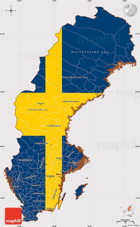 flag simple map  sweden