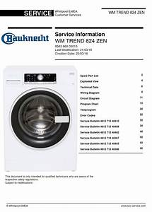 Bauknecht Wm Trend 824 Zen Washing Machine Service Manual