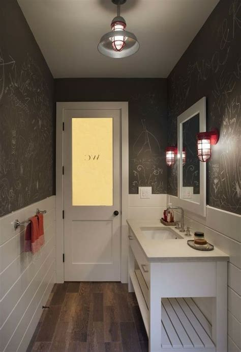 frosted glass door opens  long powder room features