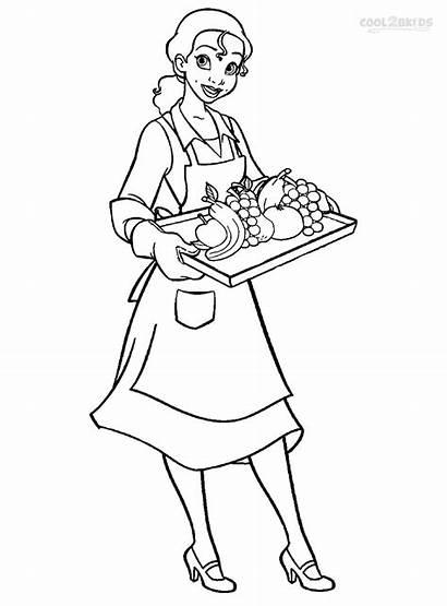Coloring Tiana Princess Pages Waitress Printable Disney