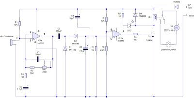 catatan sederhana dhany elektronika rangkaian saklar lu dengan sensor suara tepuk