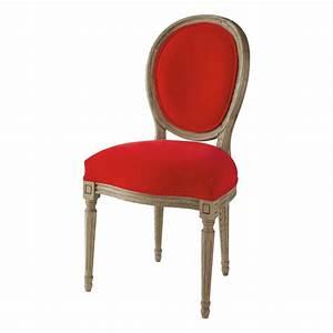Chaise Cuir Maison Du Monde : chaise m daillon en velours et ch ne massif rouge louis maisons du monde ~ Teatrodelosmanantiales.com Idées de Décoration