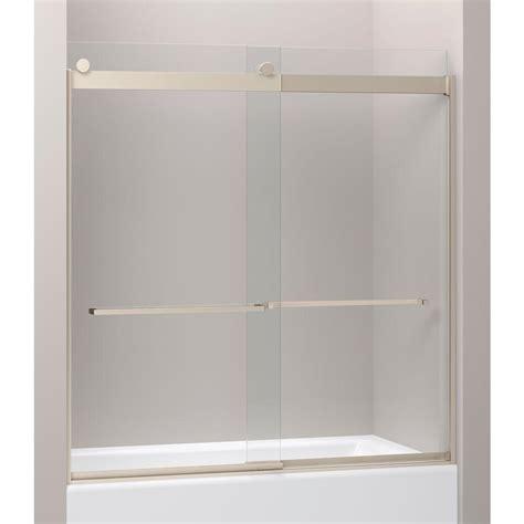 kohler levity sliding shower door kohler levity 28 1 8 in x 62 in frameless sliding shower 8820