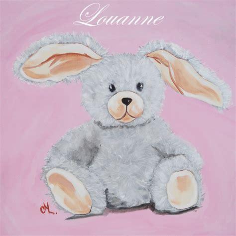 deco peinture chambre bebe tableau déco peluche lapin enfant bébé tableau enfant